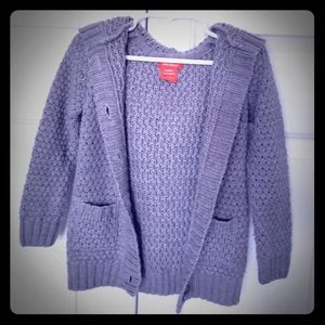 3T button up, hooded grey knit sweater